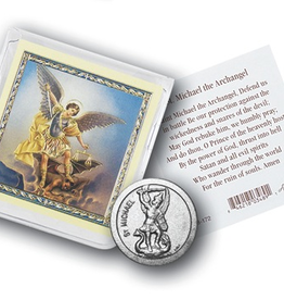 WJ Hirten St. Michael Pocket Coin w/ Gold Stamped Holy Card