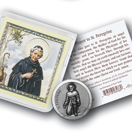 WJ Hirten St. Perregrine Pocket Coin w/ Gold Stamped Holy Card