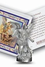 WJ Hirten Saint Michael Pocket Statue w/ prayer