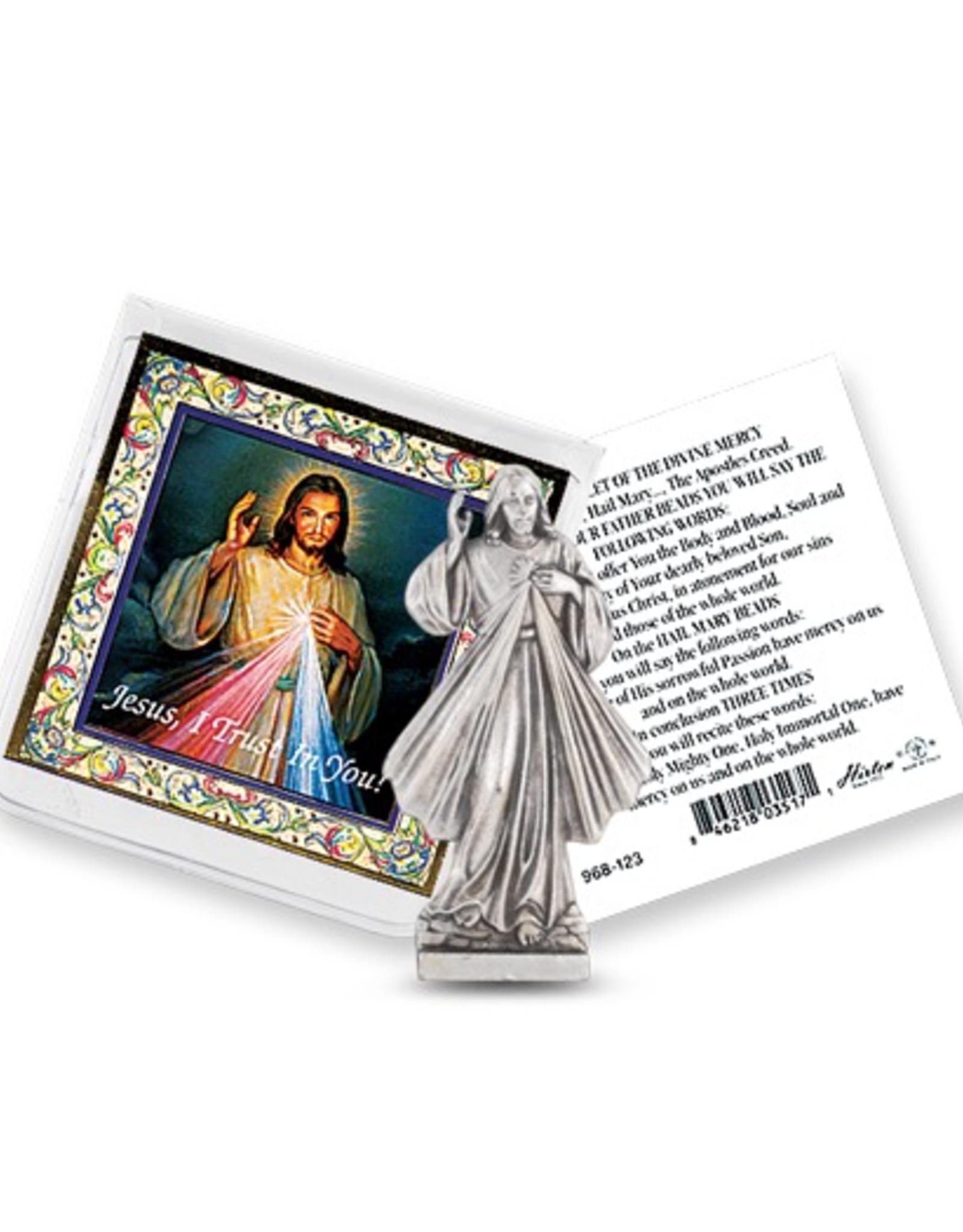 WJ Hirten Divine Mercy Pockert Statue w/ Prayer