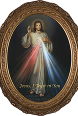 "Nelson/Catholic to the Max Divine Mercy Canvas:  Oval Gold Framed Art (8x10"")"