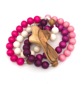 BC Inspirations BC Inspirations: Handcrafted Children's Roasry in Pink, Purple and Cream w/ Bethlehem Olive Wood Hand Carved Cross