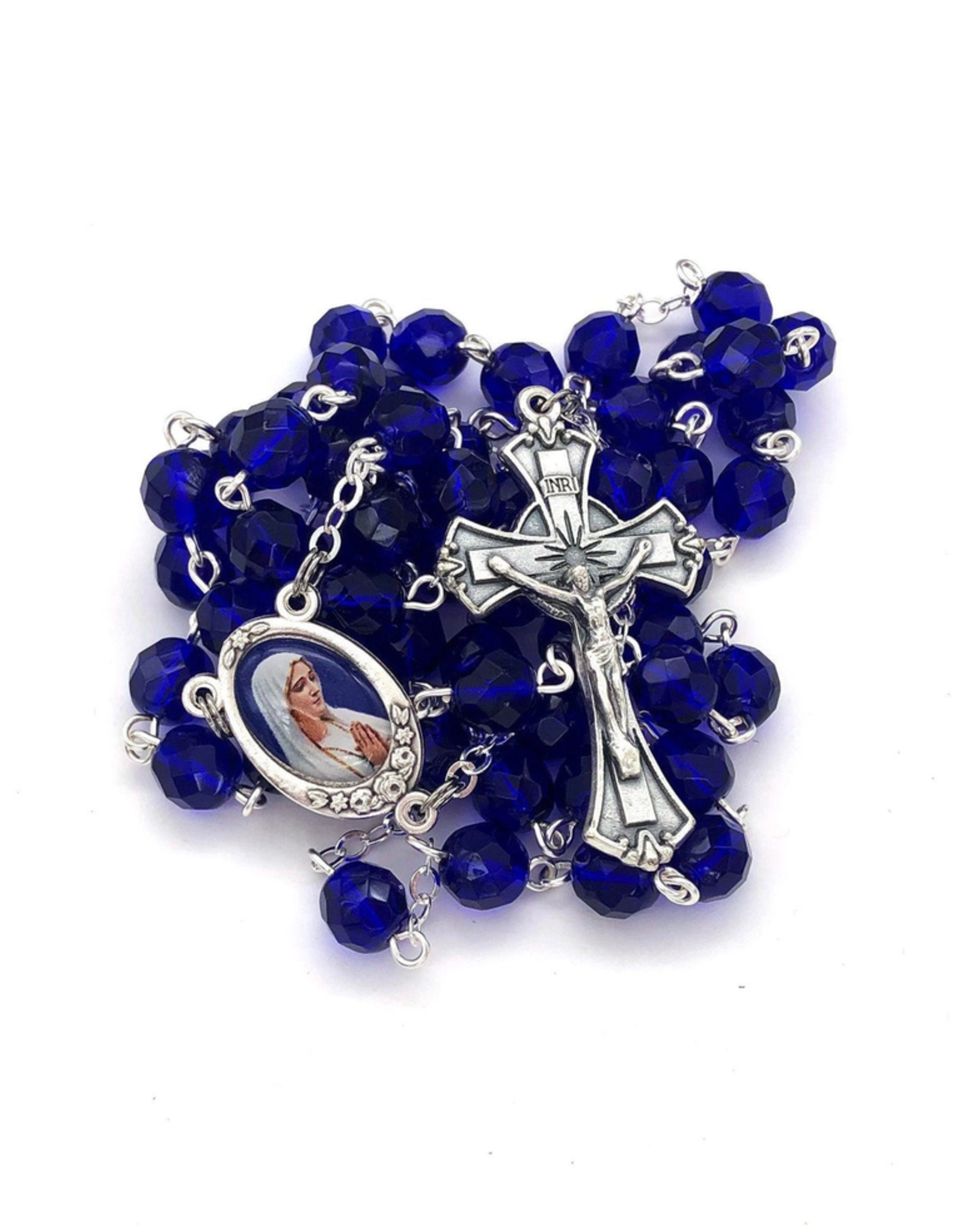 BC Inspirations BC Inspirations:  Handmade Our Lady of Medjugorje Rosary in Blue Czech Glass (large)