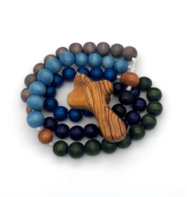 BC Inspirations BC Inspirations: Handcrafted Children's Rosary in Blue, Green and Gray w/ Bethlehem Olive Wood Hand Carved Cross