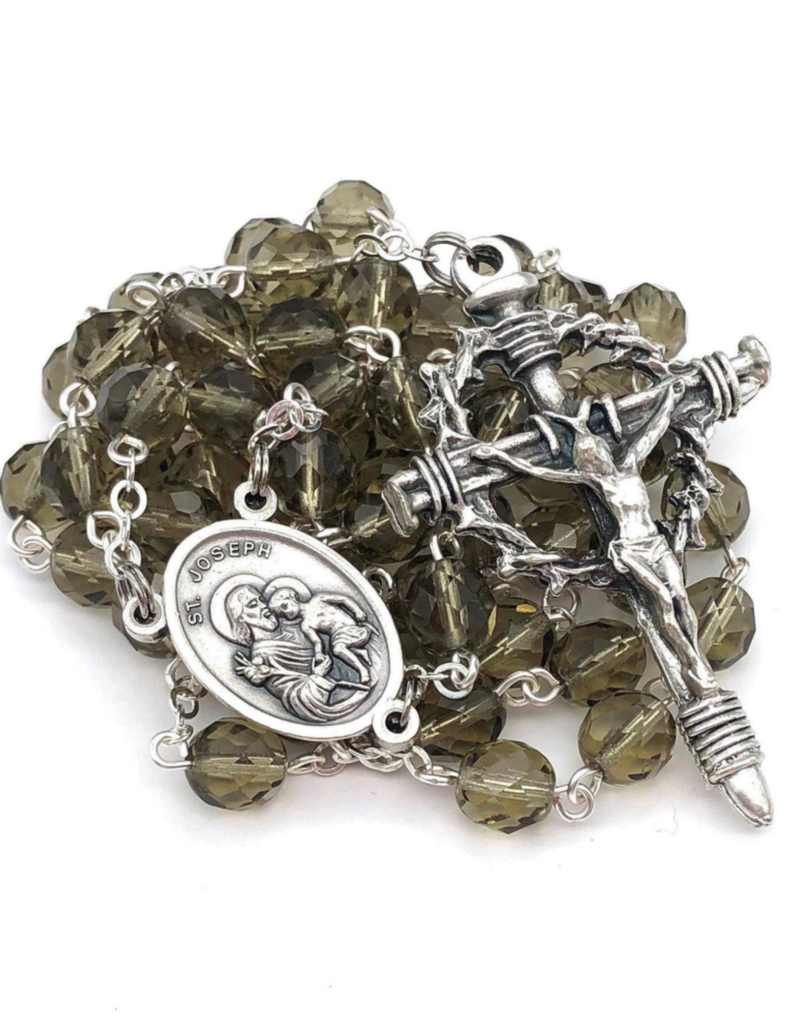 BC Inspirations BC Inspirations:  Handcafted St. Joseph Rosary in Gray Czech Glass with Crown of Thorns Crucifix (large)