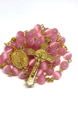 BC Inspirations BC Inspirations:  Handcrafted Pink Cats Eye, Fiber Optic Bead Rosary in Gold