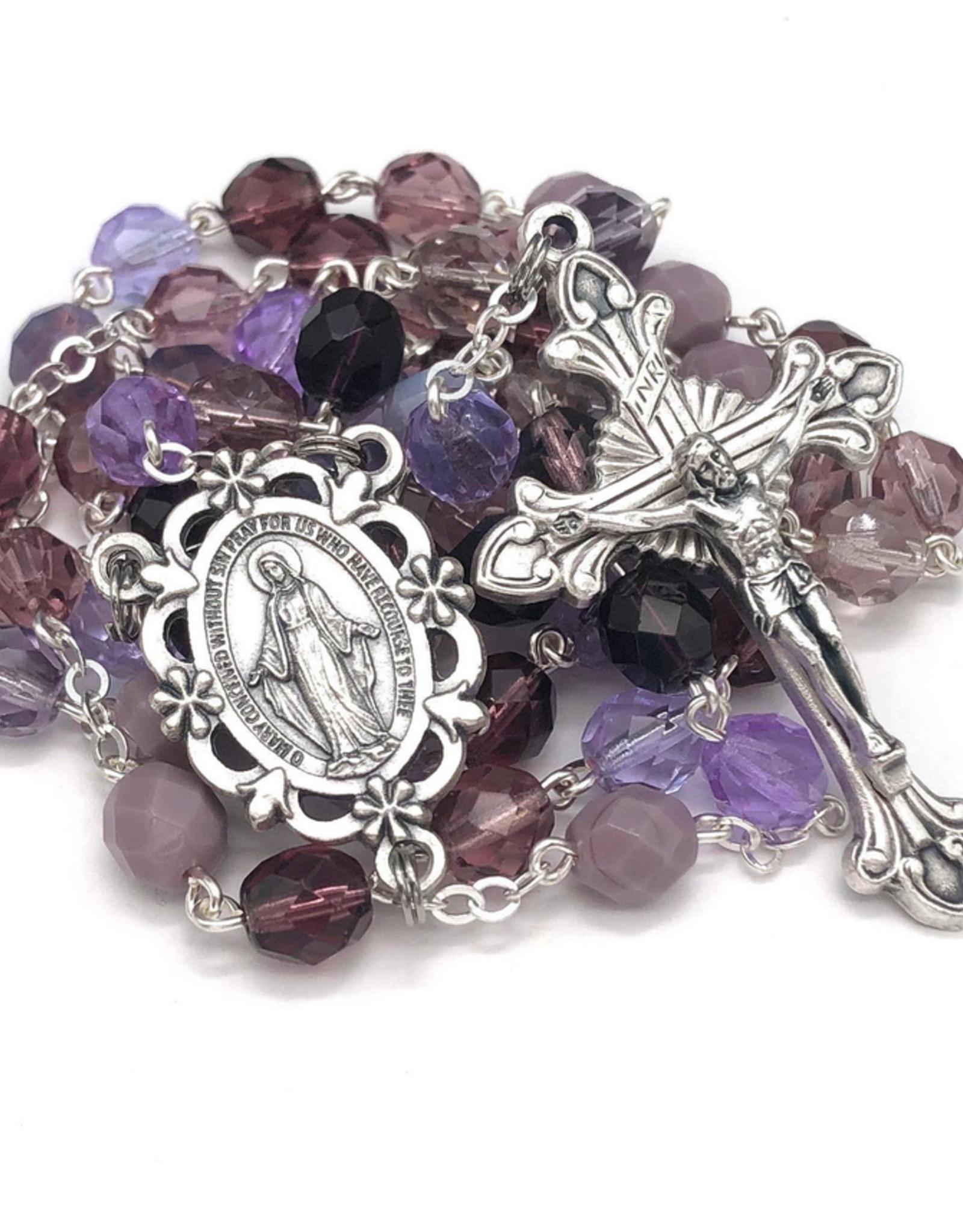 BC Inspirations BC Inspirations:  Handcrafted Purple Czech Glass Rosary w/ Sunburst Crucifix