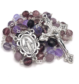 BC Inspirations BC Inspirations: Handcrafted Purple Czech Glass Rosary w/ Sunburst Crucifix