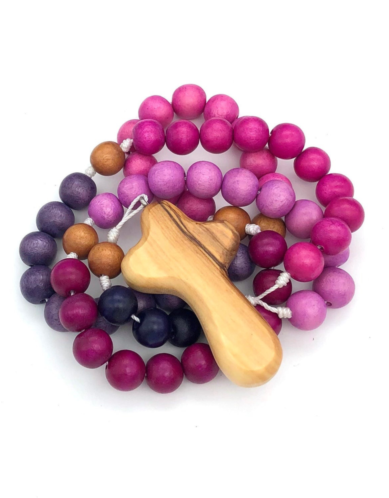 BC Inspirations Bc Inspirations:  Handcrafted Children's Rosary in Perfectly Purple w/ Bethlehem Olive Wood Hand Carved Crodd