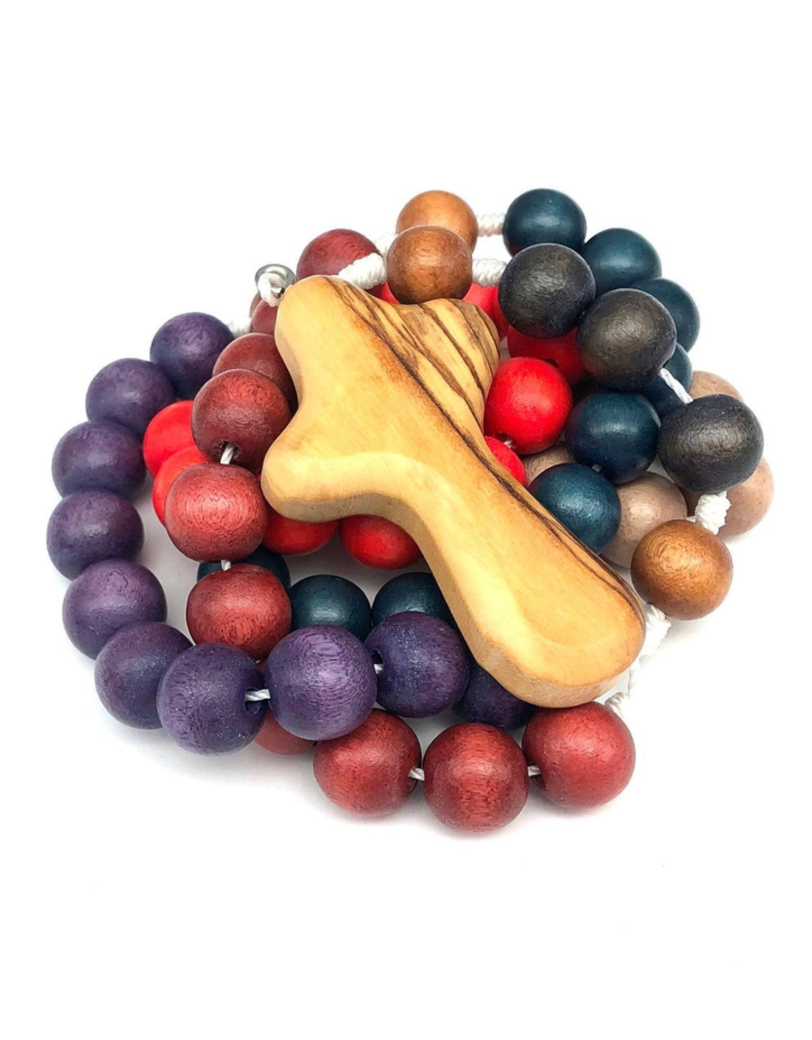 BC Inspirations BC Inspirations:  Handcrafted Painted Desert Children's Rosary w/ Bethlehem Olive Wood Hand Carved Cross