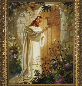 """Nelson/Catholic to the Max Christ at Heart's Door Framed Image in Gold Frame 5 x 7"""""""