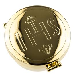WJ Hirten Gold IHS Pyx (7 Hosts)(Made in Italy)