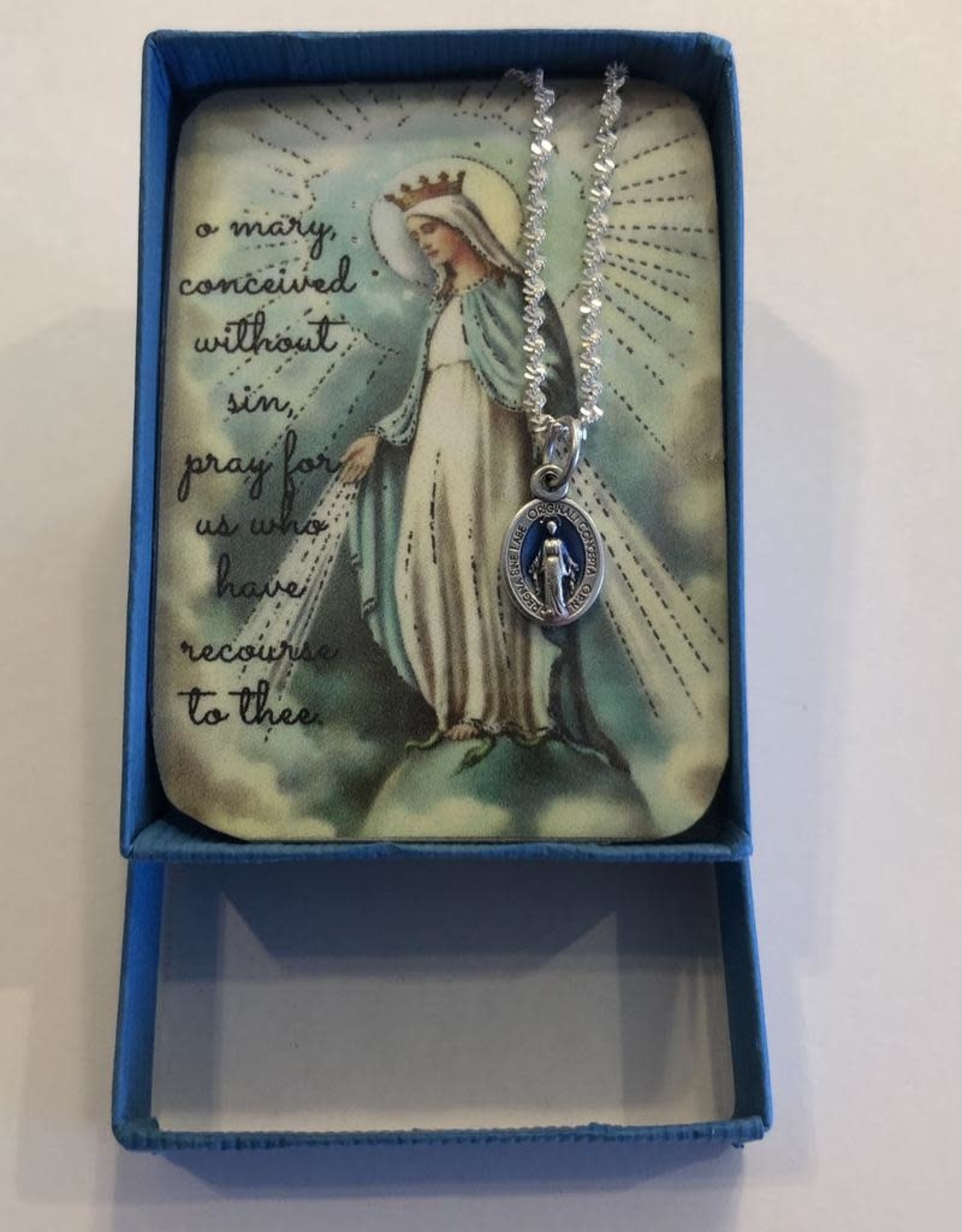 "Credo Catholic Credo Catholic:  Handmade Blue Enameled Tiny Miraculous Medal Necklace (18"" Stainless Steel Chain)"