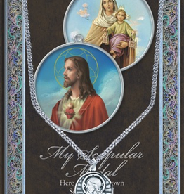 """WJ Hirten Scapular Medal Necklace w/ Prayer Card (20"""" Stainless Steel Chain Included)"""
