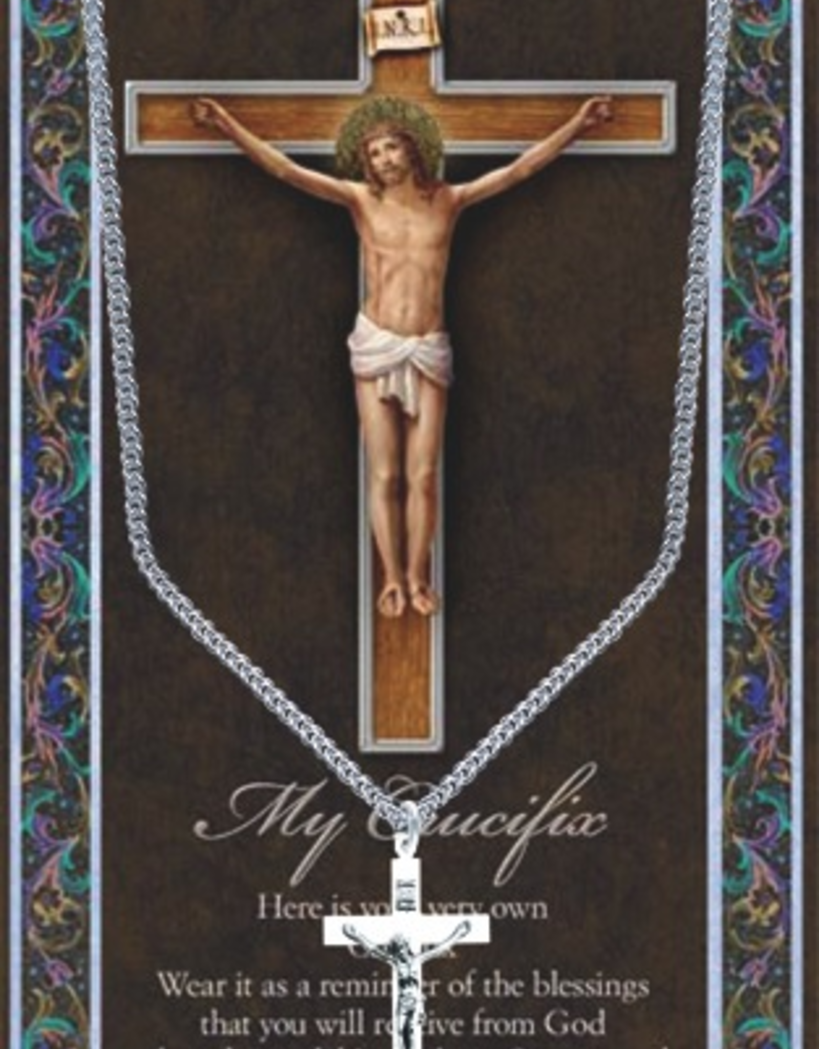 "WJ Hirten Crucifix Necklace w/ Prayer Card (20"" Stainless Steel Chain Included)"