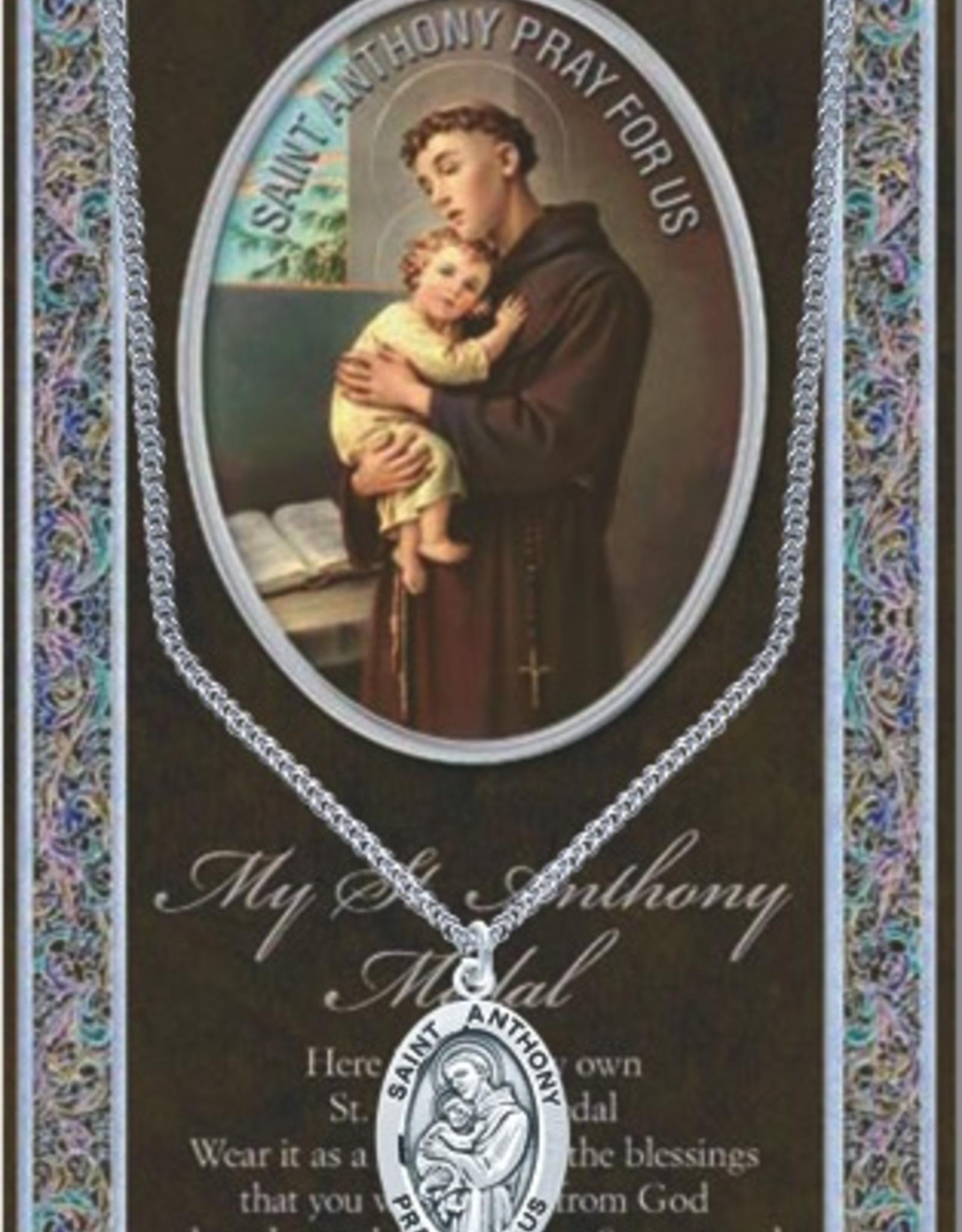 """WJ Hirten St. Anthony Medal Neckalce w/ Prayer Card (20"""" Stainless Steel Chain Included)"""