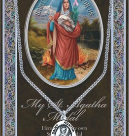 "WJ Hirten St. Agatha Medal Necklace w/ Prayer Card (20"" Stainless Steel Chain Included)"