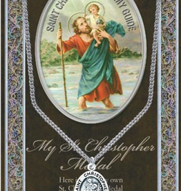 "WJ Hirten St. Christopher Medal Necklace w/ Prayer Card (20"" Stainless Steel Chain Included)"