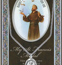 "WJ Hirten St. Francis of Assisi Medal Neckalce w/ Prayer Card (20"" Stainless Steel Chain Included)"