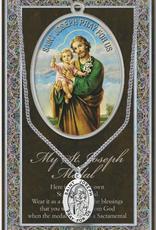 "WJ Hirten St. Joseph Medal Necklace w/ Prayer Card (20"" Stainless Steel Chain Included)"