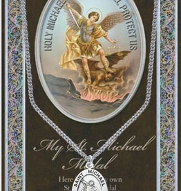 "WJ Hirten St. Michael Medal Necklace w/ Prayer Card (20"" Stainless Steel Chain Included)"