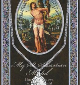 "WJ Hirten St. Sebastian Medal Necklace w/ Prayer Card (20"" Stainless Steel Chain Included)"