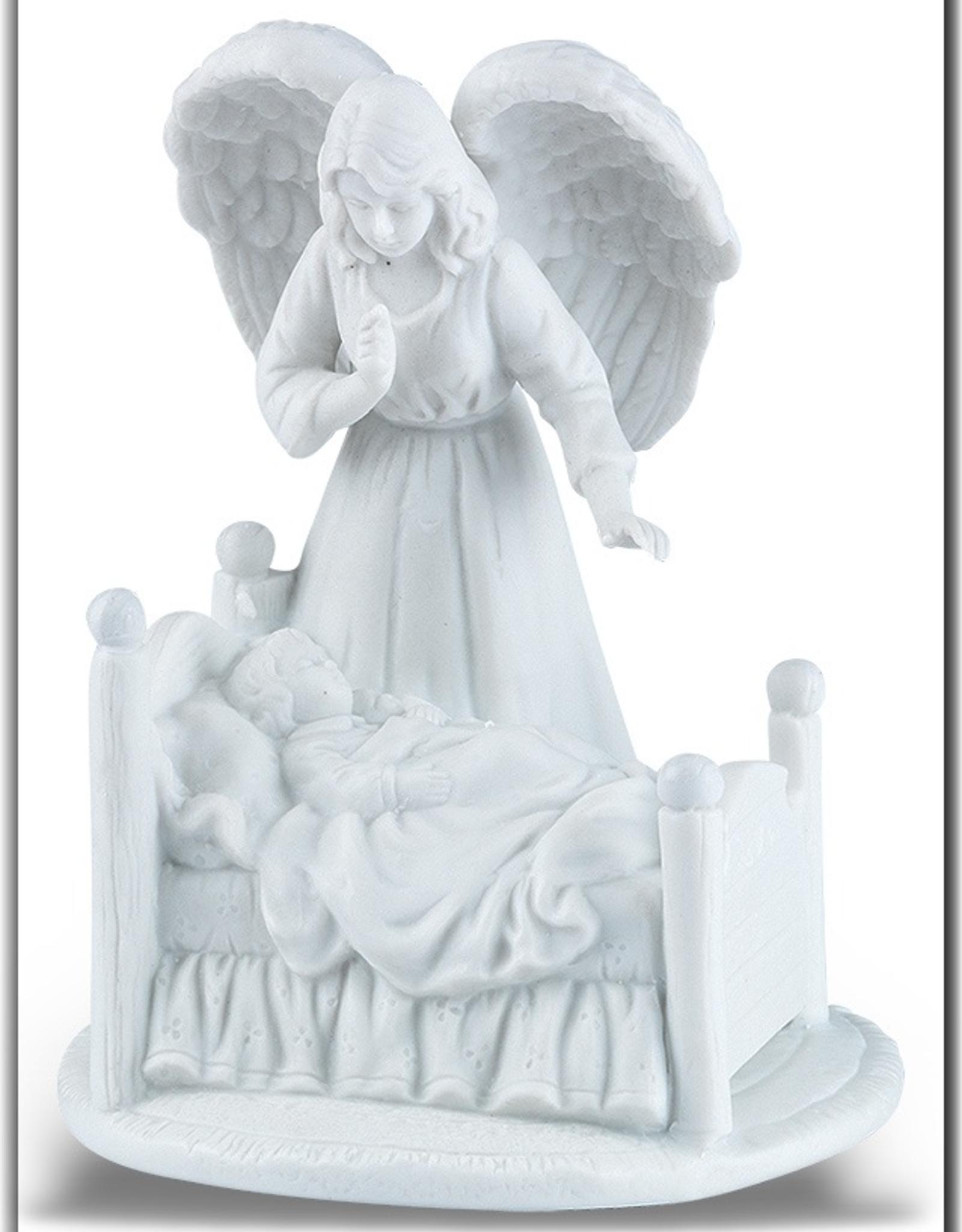 WJ Hirten Guardian Angel w/ Baby in White Porcelain Bisque Nightlight