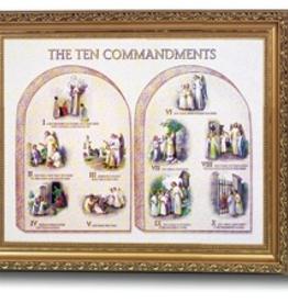"""WJ Hirten Framed Ten Commandments 8x10"""""""