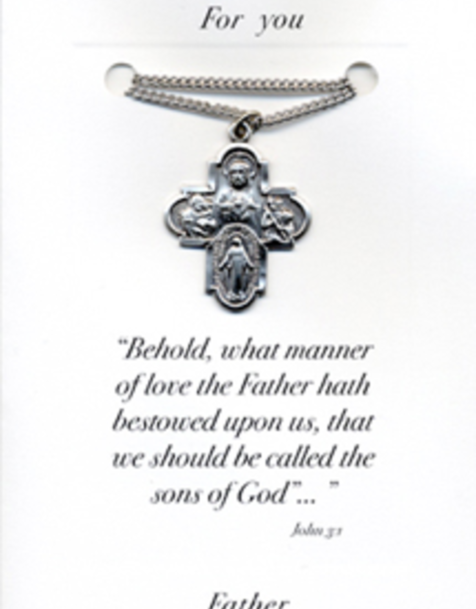 """Illumigifts 4 Way Cross Medal Fathe's Day Gift Card (24"""" Stainless Steel Chain Included)"""