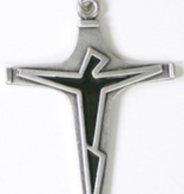 "Illumigifts Cross w/ Jet Enamel (24"" Stainless Steel Chain Included)"