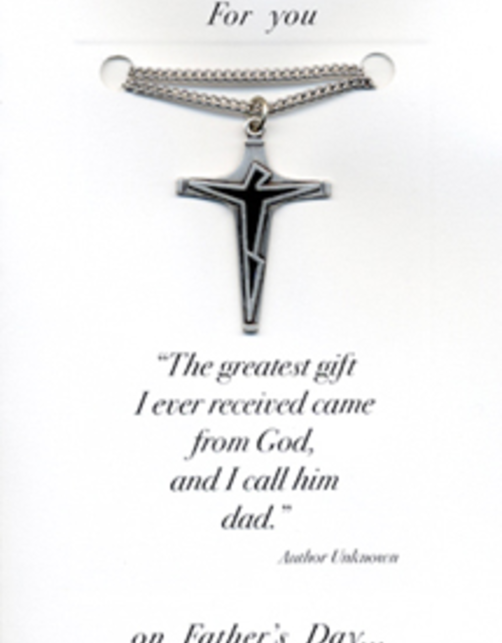 """Illumigifts Cross w/ Jet Enamel (24"""" Stainless Steel Chain Included)"""