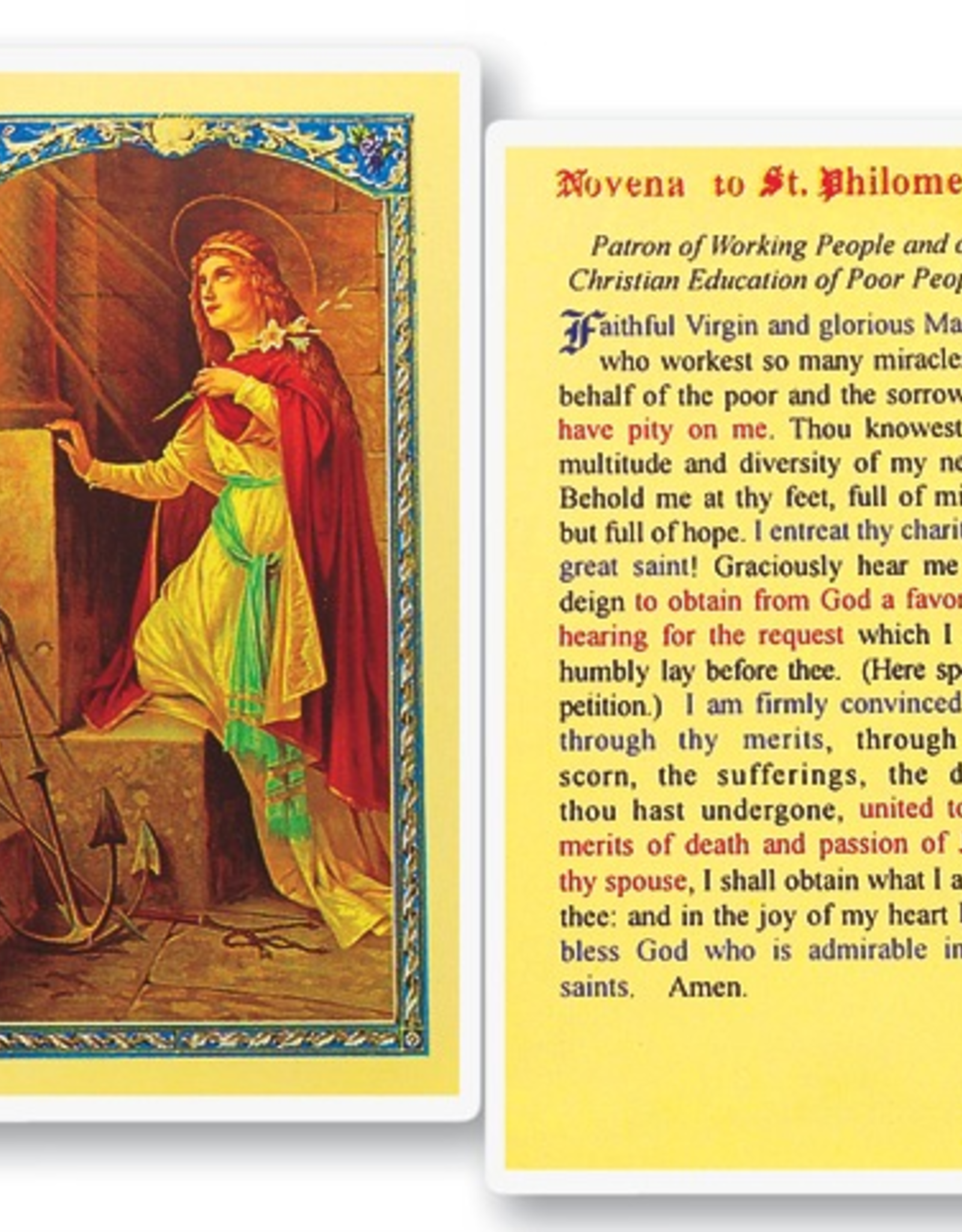 WJ Hirten St. Philomena Holy Cards (25/pk)