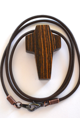 """Merry Crosses 24"""" Merry Hand Crafted 1 1/2"""" Wenge Cross Necklace"""