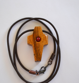 """Merry Crosses 24"""" Merry Hand Crafted 1 1/2"""" Palmwood Cross Necklace with stone"""