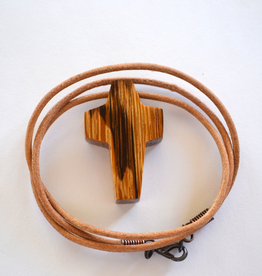 """Merry Crosses 24"""" Merry Hand Crafted 1 1/2"""" Palmwood Cross Necklace"""
