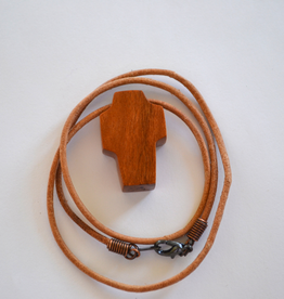"""Merry Crosses 24"""" Merry Hand Crafted 1 1/2"""" Butternut Wood Cross Necklace"""