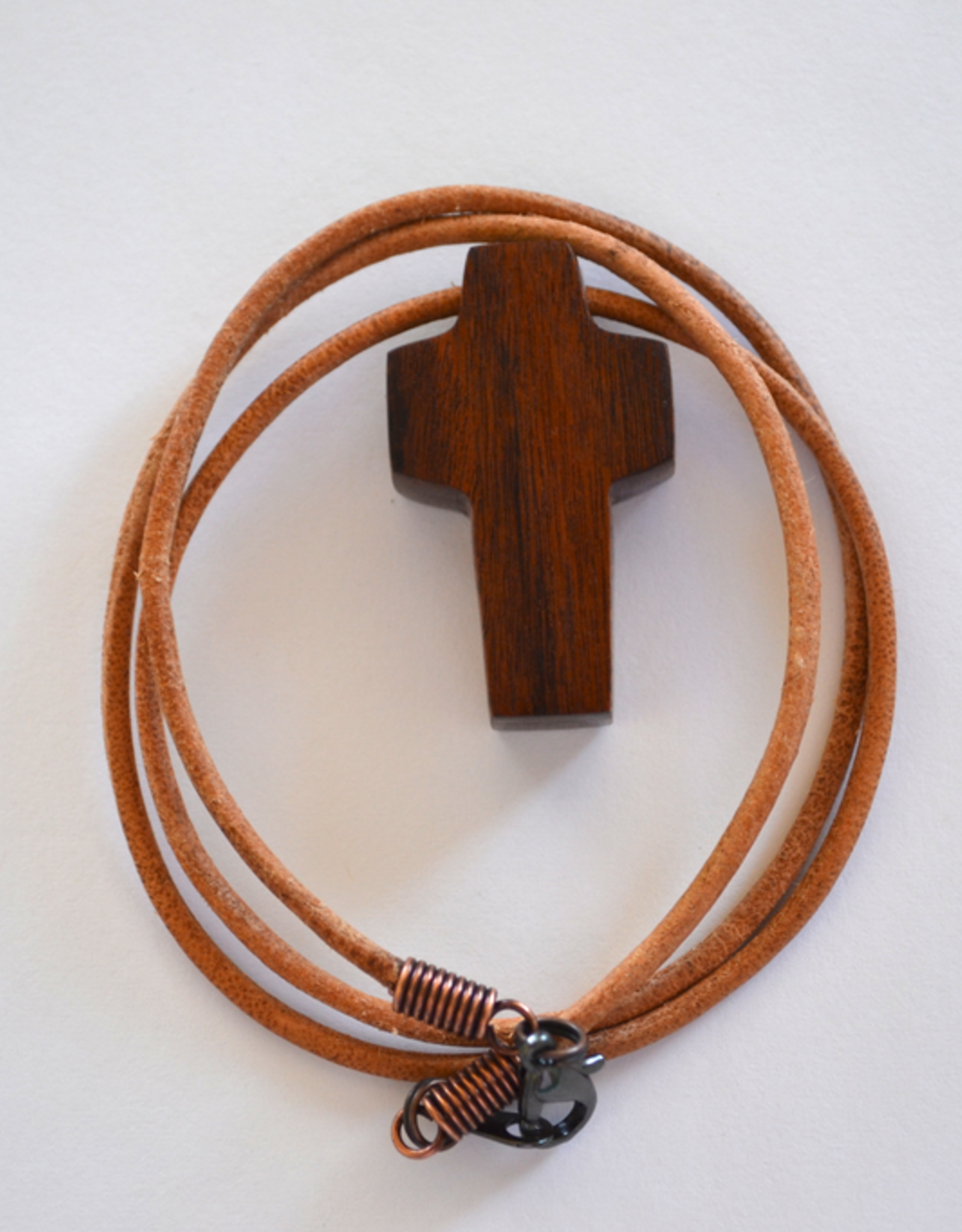 """Merry Crosses 24"""" Merry Hand Crafted 1 1/2"""" Walnut Wood Cross Necklace"""