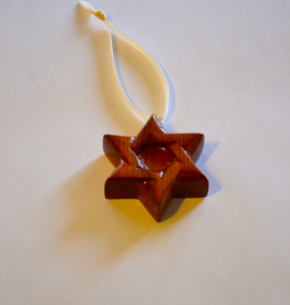 "Merry Crosses 2"" Merry Handcrafted Aromatic Cedar Star of David Christmas Ornament"