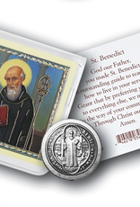 WJ Hirten St. Benedict Pocket Coin w/ Gold Stamped Holy Card