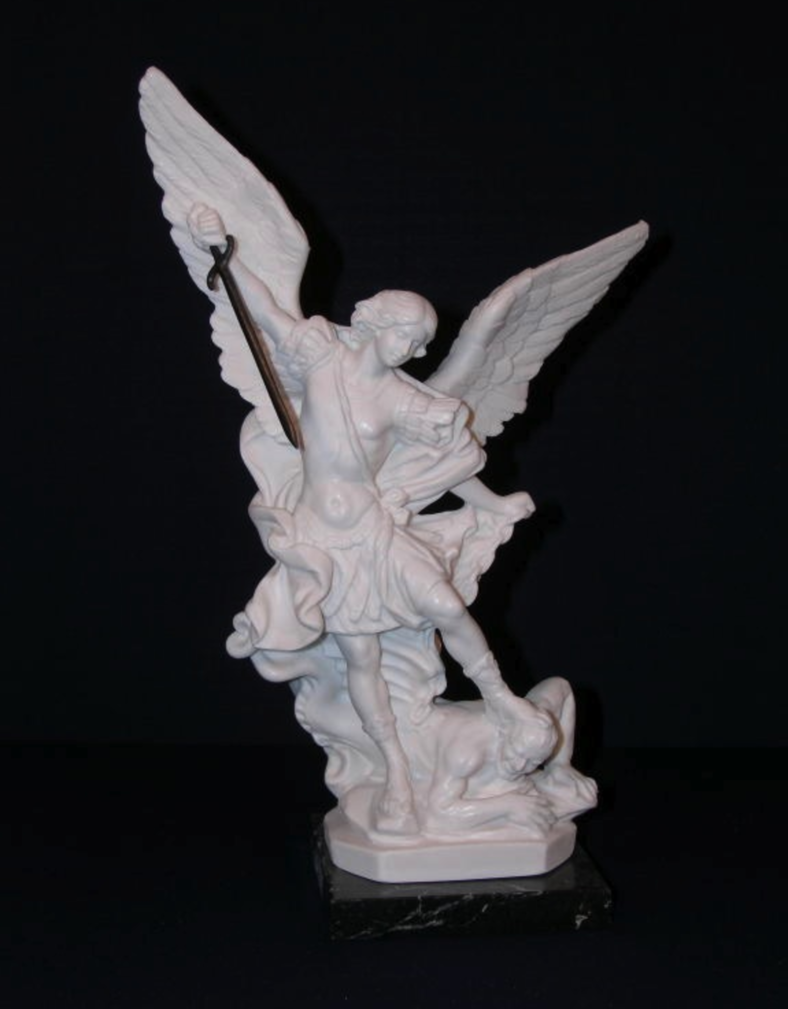 "Goldscheider 12"" St. Michael Statue in all white alabaster with black marble base.  Made in Italy."