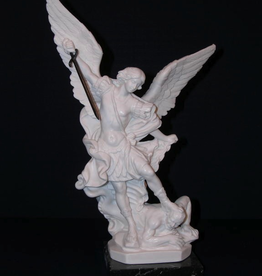 """Goldscheider 12"""" St. Michael Statue in all white alabaster with black marble base. Made in Italy."""