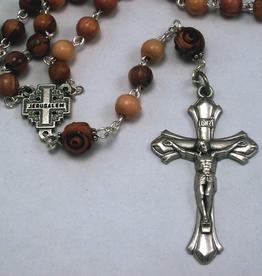 MG Rosary MG Rosary: Handcrafted Bethlehem Olivewood Rosary w/ Jerusalem Centerpiece