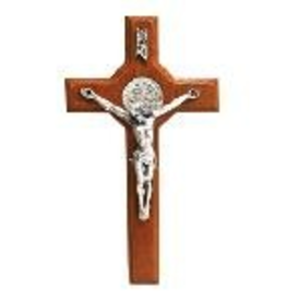"San Francis Imports 13"" St. Benedict Crucifix with Pewter Corpus (Maple)"