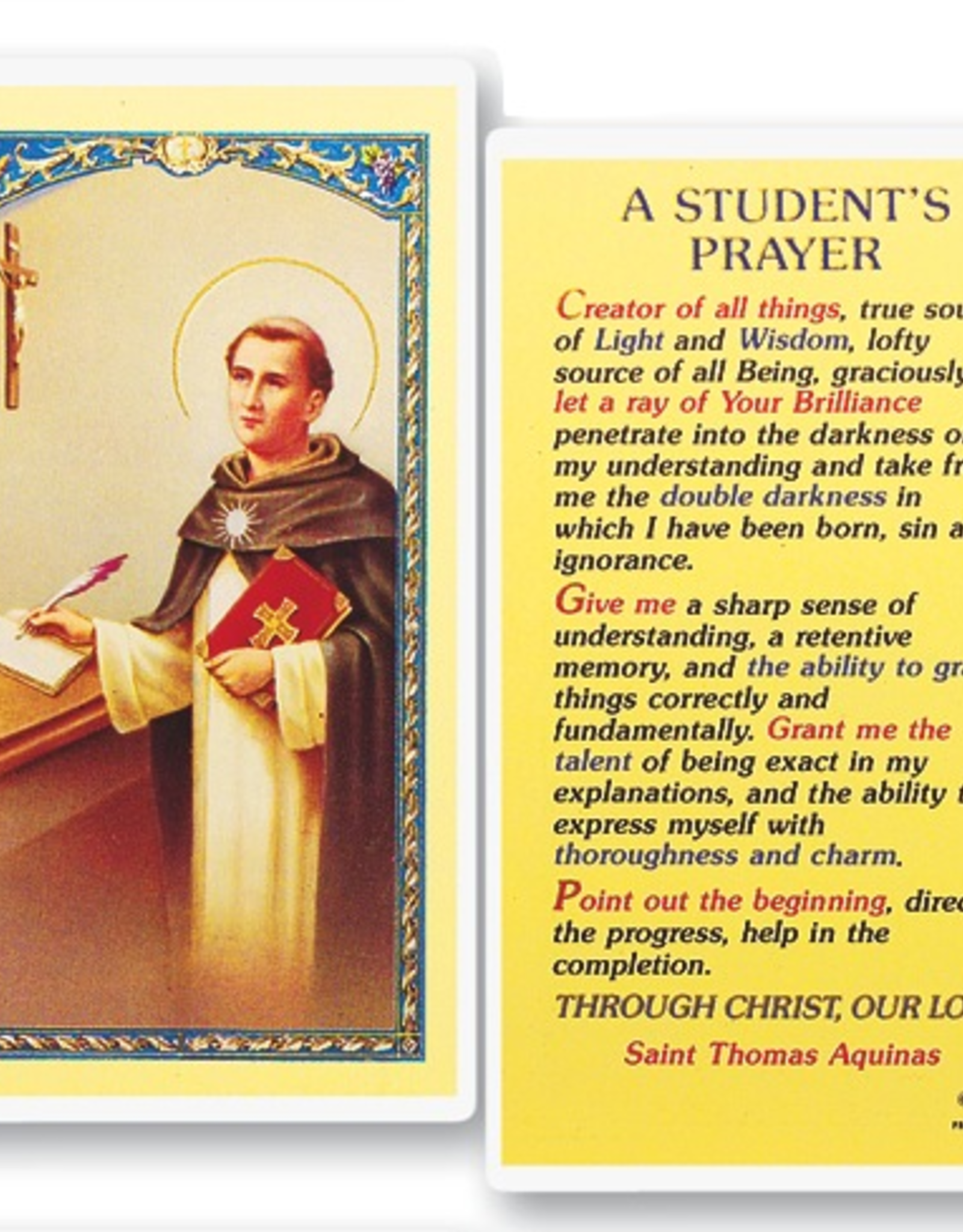WJ Hirten A Student's Prayer (St. Thomas Aquinas) Holy Cards (25/pk)