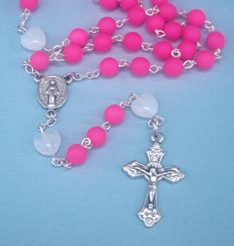 MG Rosary MG Rosary: Handcrafted hot pink Czech Glass Rosary
