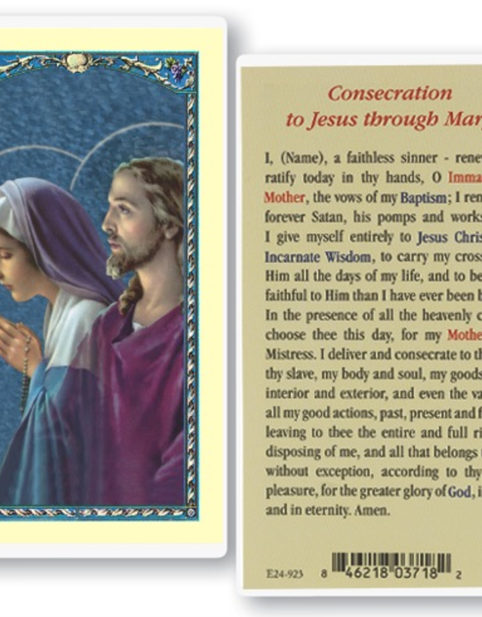 WJ Hirten Consecration to Jesus Through Mary Holy Cards (25/ pk)