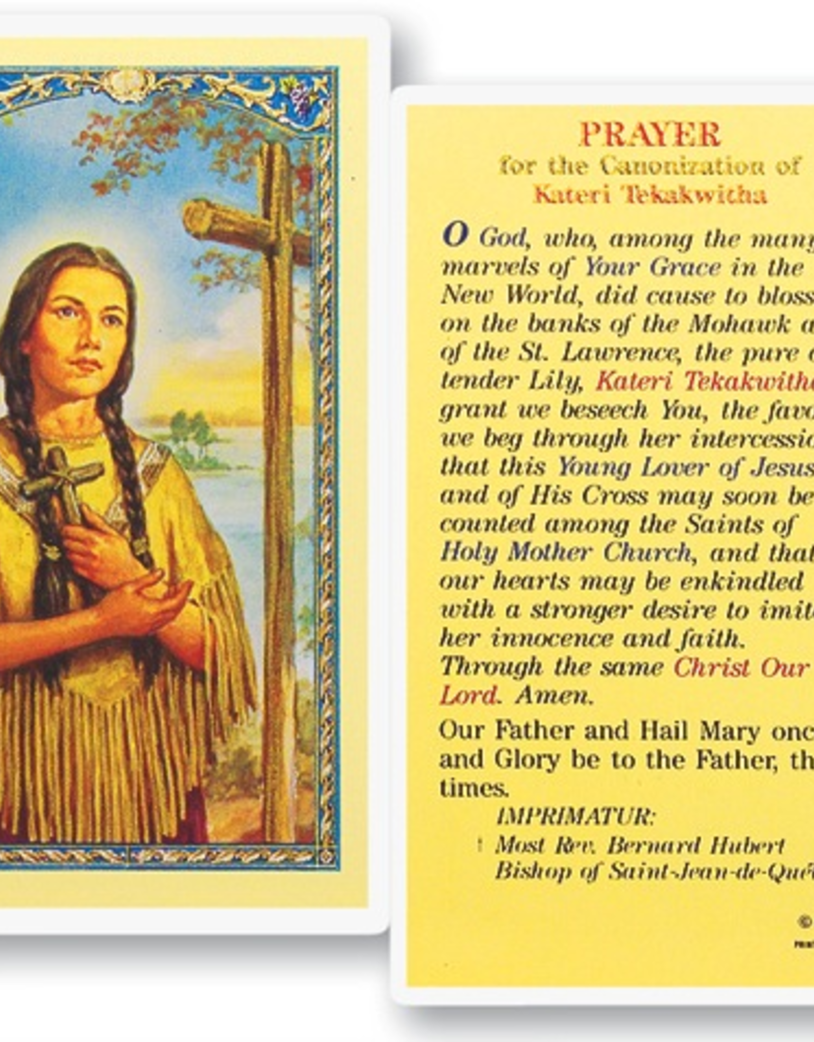 WJ Hirten St. Kateri Tekakwitha Holy Cards (25/pk)