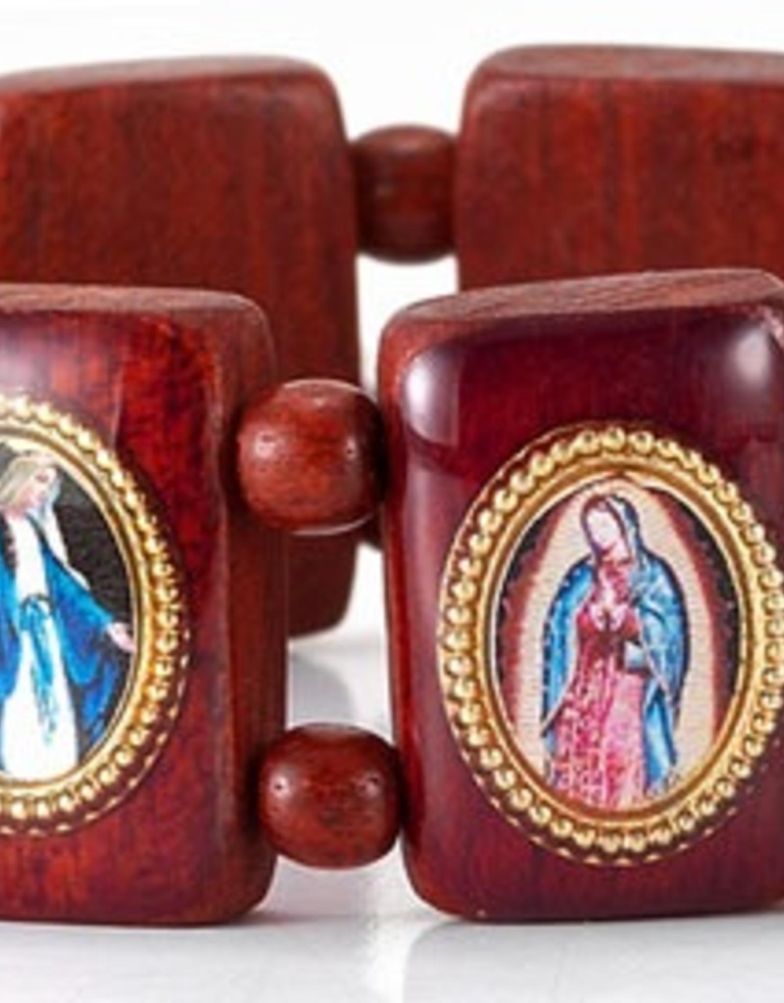 "WJ Hirten Brown Wood Madonna Picture Bracelet 3.5"""