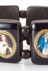 "WJ Hirten Black Wood Madonna Picture Bracelet 3.5"""