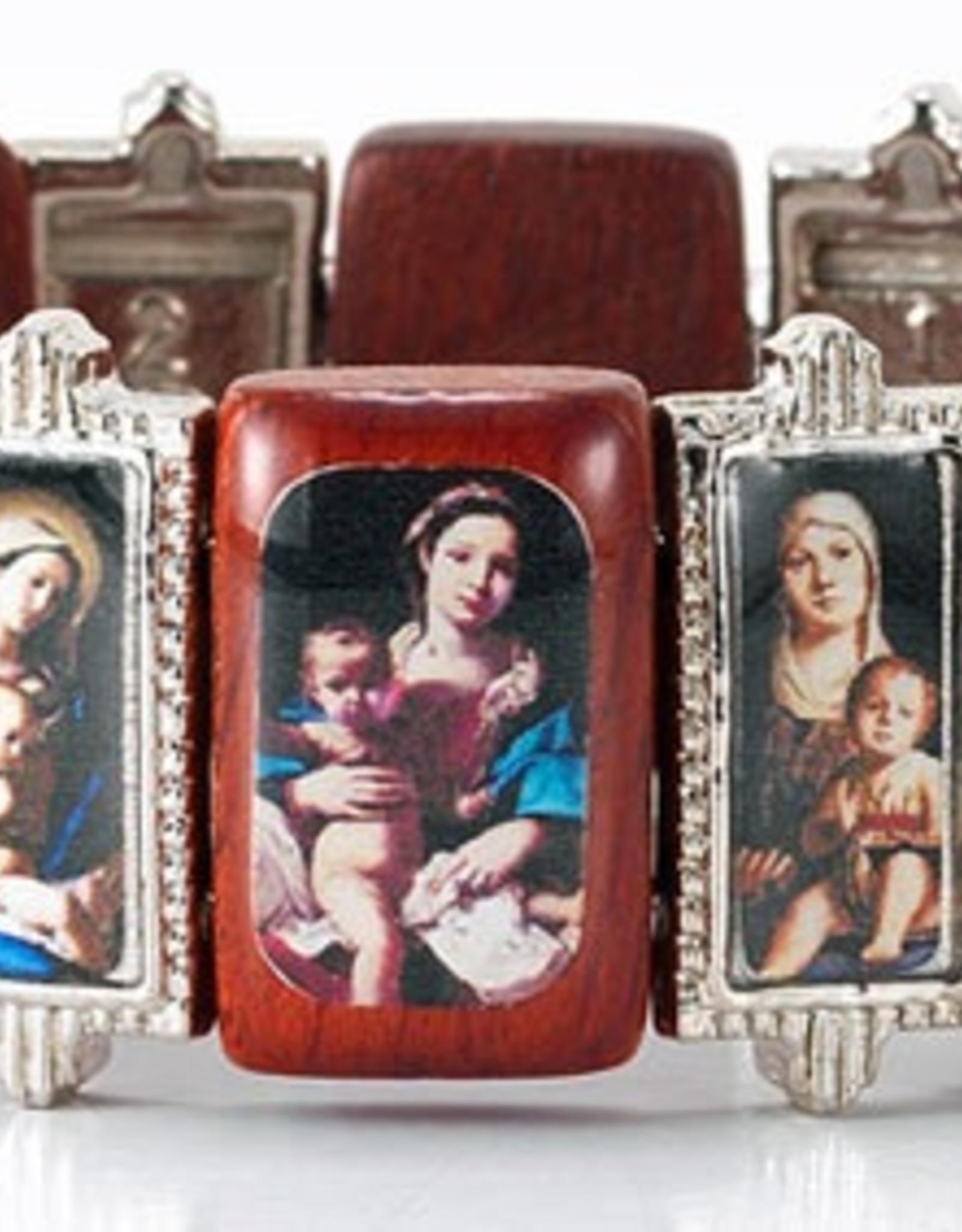 """WJ Hirten Wood and Metal Frame Madonna Bracelet 3.5"""""""
